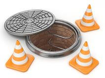 Ouvrez les cônes de trou d'homme et de trafic Concept en construction 3d Photo libre de droits