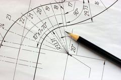 Ouvrez les dessins avec un crayon Construction et conception Image stock