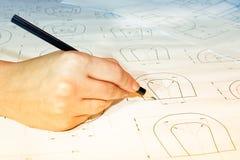 Ouvrez les dessins avec un crayon Construction et conception Photos libres de droits