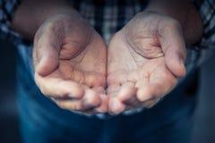 Ouvrez les mains Photographie stock