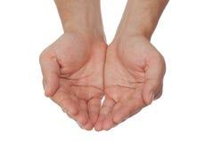 Ouvrez les mains d'un homme caucasien Image stock