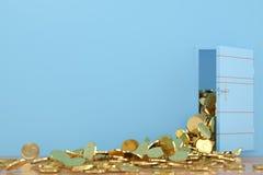 Ouvrez les pièces d'or de porte tombent, l'illustration 3D Photographie stock