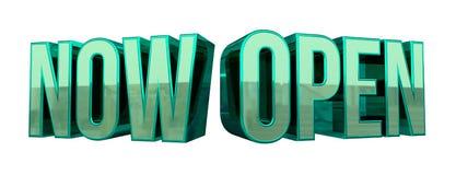 Ouvrez maintenant le texte 3D Photographie stock libre de droits