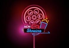 Ouvrez maintenant le vecteur rougeoyant de salle de cinéma de cinéma de signe de néon et d'ampoule Photo stock