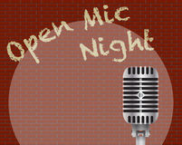 Ouvrez Mic Night With Microphone Image stock