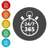 Ouvrez 24/7 - 365, 24/7 365, 24/7 signe 365 Image libre de droits