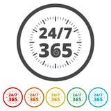 Ouvrez 24/7 - 365, 24/7 365, 24/7 365 signent, 6 couleurs incluses Photos libres de droits
