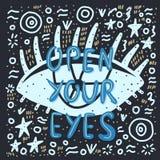 Ouvrez vos yeux marquant avec des lettres avec la décoration illustration libre de droits