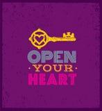 Ouvrez votre coeur Citation lunatique mignonne de motivation Concept exceptionnel de typographie de vecteur sur le fond grunge illustration de vecteur