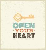 Ouvrez votre coeur Citation lunatique mignonne de motivation Concept exceptionnel de typographie de vecteur sur le fond grunge illustration stock