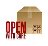 Ouvrez-vous avec la conception d'illustration de boîte de soin Photos libres de droits