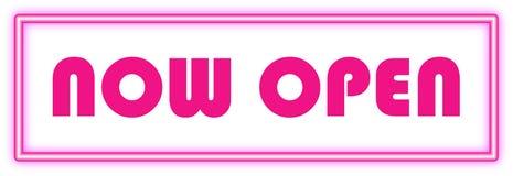 Ouvrez-vous maintenant signent dedans le néon rose Photos stock