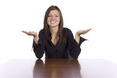 Ouvrez-vous pour la femme d'affaires de dialogue Images stock