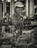 Ouvrière couturière dans Nha-Trang Image libre de droits