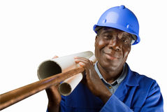 Ouvrier africain de plombier Photographie stock