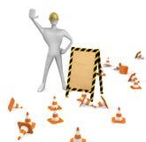 Ouvrier avec des cônes de circulation et panneau vide Photos libres de droits