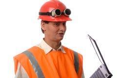Ouvrier avec l'ordinateur portatif Photo libre de droits