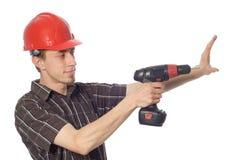 Ouvrier avec le foret photos libres de droits