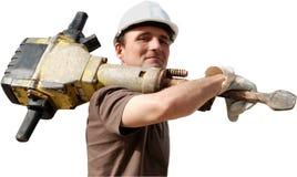 Ouvrier avec le jackhammer Photographie stock
