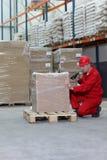 Ouvrier avec le lecteur de code à barres travaillant dans l'entrepôt photographie stock