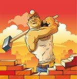 Ouvrier avec le marteau Image stock