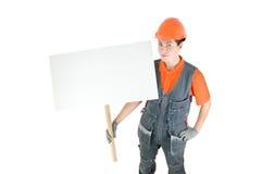 Ouvrier avec le signe images libres de droits