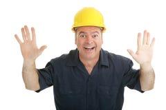 ouvrier d'excitation de construction photographie stock libre de droits