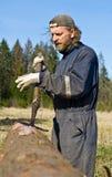 Ouvrier de bois de charpente images libres de droits