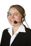 Ouvrier de centre d'attention téléphonique sur le blanc Photographie stock libre de droits