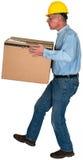 Ouvrier de fabrication, boîte, d'isolement Images stock