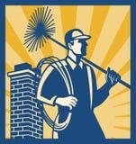 Ouvrier de nettoyeur de balayeuse de cheminée rétro Image libre de droits