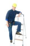 Ouvrier et échelle Image stock