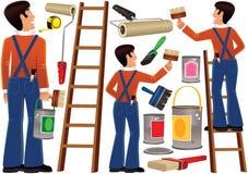 Ouvrier et articles diy de peinture Photo stock