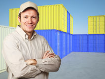 Ouvrier et conteneur Photo libre de droits