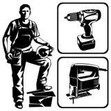 Ouvrier et outils Photographie stock libre de droits