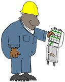 Ouvrier ethnique regardant un kit de premiers secours stocké avec seulement du savon illustration de vecteur