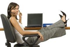 ouvrier féminin de téléphone de bureau Image libre de droits