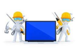 Ouvrier industriel avec l'ordinateur portatif D'isolement Chemin de coupure Images stock