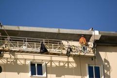 Ouvrier sur l'échafaudage Photo libre de droits