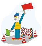 Ouvrier sur la route en construction illustration libre de droits