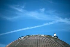 Ouvrier sur le toit de dôme photos stock