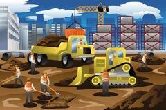 Ouvriers dans un chantier de construction Photo libre de droits