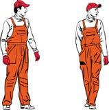 Ouvriers du croquis deux dans des combinaisons oranges Images stock