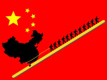 Ouvriers tirant la Chine Images stock