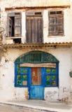 Ouzeri van de koffie in Panormo, Kreta Stock Foto