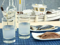 Ouzo and seafood stock photography