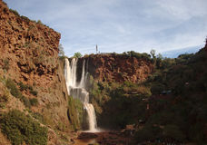 Ouzoud Falls. Rushes downwards amongst tourist boats and cafes Stock Photo
