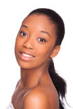 美丽的非裔美国人的妇女面孔黑人,被隔绝的ov 免版税库存照片