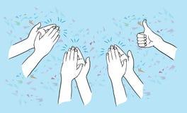 Ovação e batida do aplauso de mãos acima no fundo azul aplauda as mãos DES tirado mão dos desenhos animados do esboço da ilustraç ilustração stock