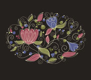 Ovaal bloemenpatroon Stock Fotografie